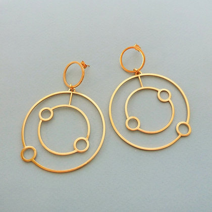 DOUBLE ORBIT HOOP EARRINGS