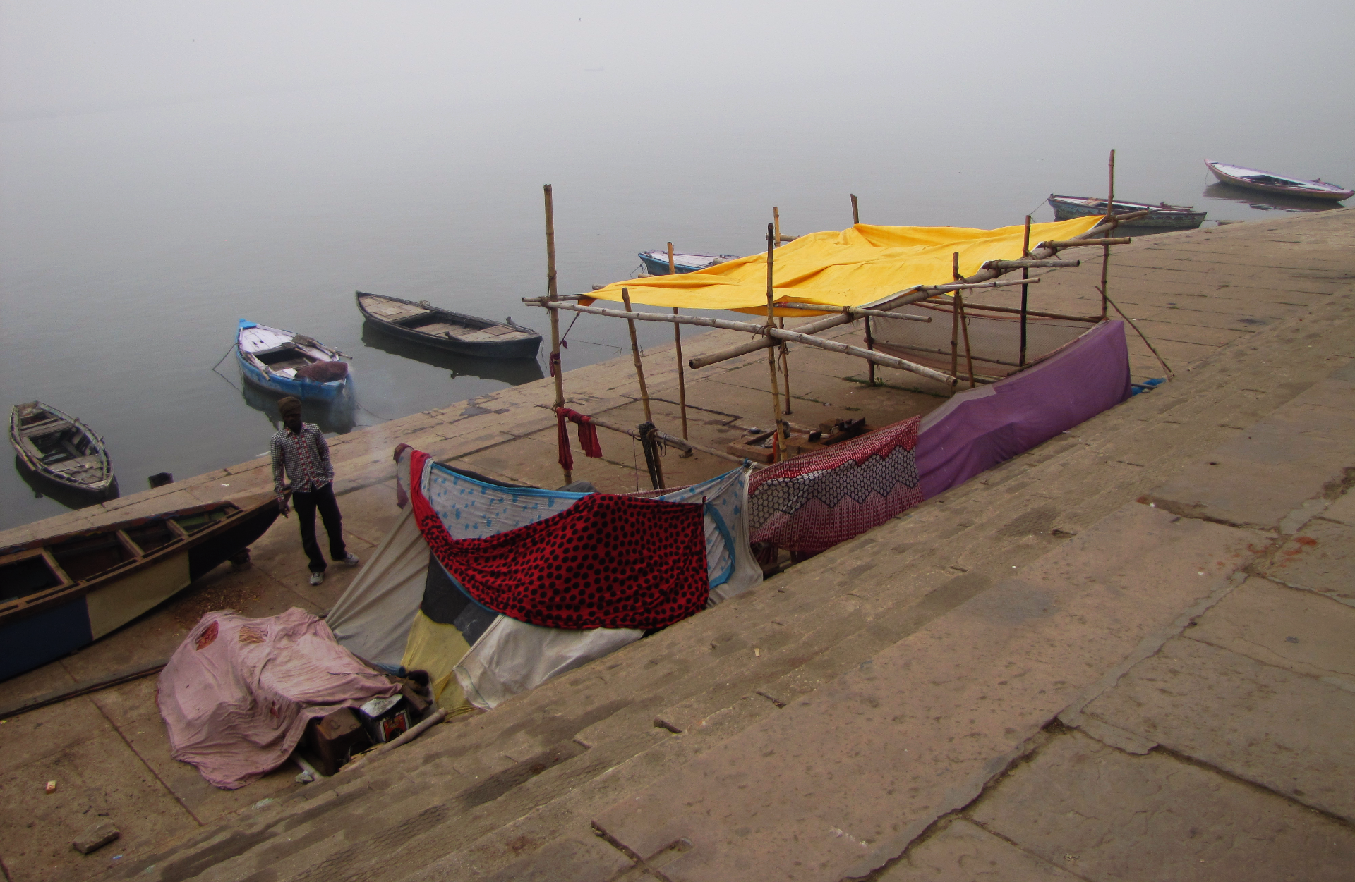 Foggy Ganges River Hut