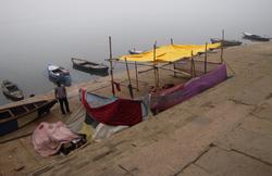 Foggy Ganges River Hut