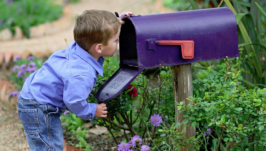 Boy looking in mailbox