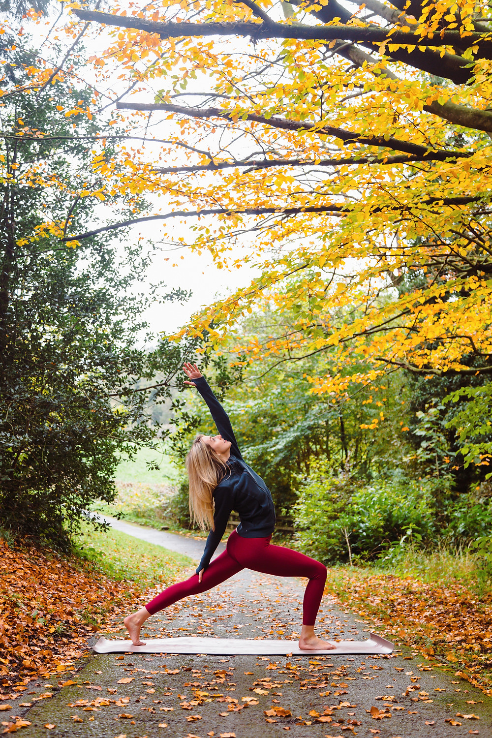 Autumn Yoga Crescent Lunge