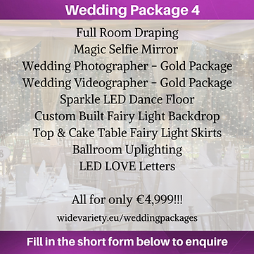 Wedding Package 4 - Wide Variety Events.