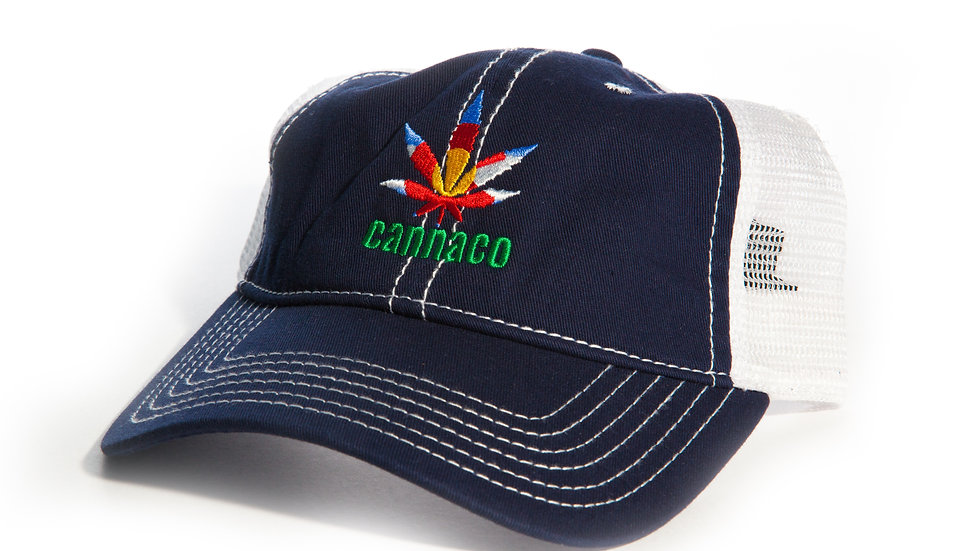 Navy Trucker Cap with centered CannaCo logo