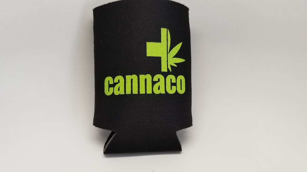 Beverage wrap Koozie with Cannaco logo