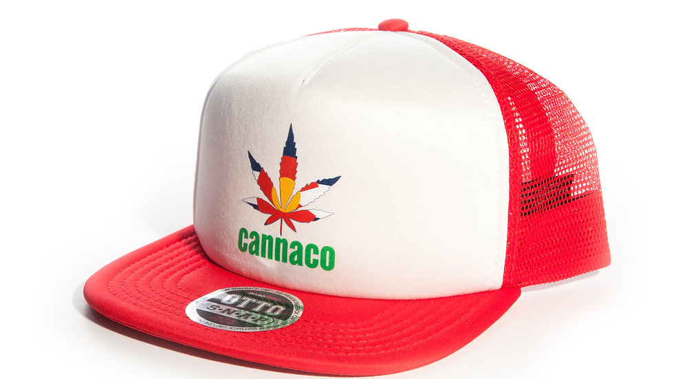 Red Trucker Mesh Cap with CannaCo Logo