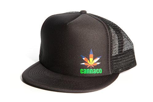Black Trucker Mesh Cap with small offset Cannaco Logo