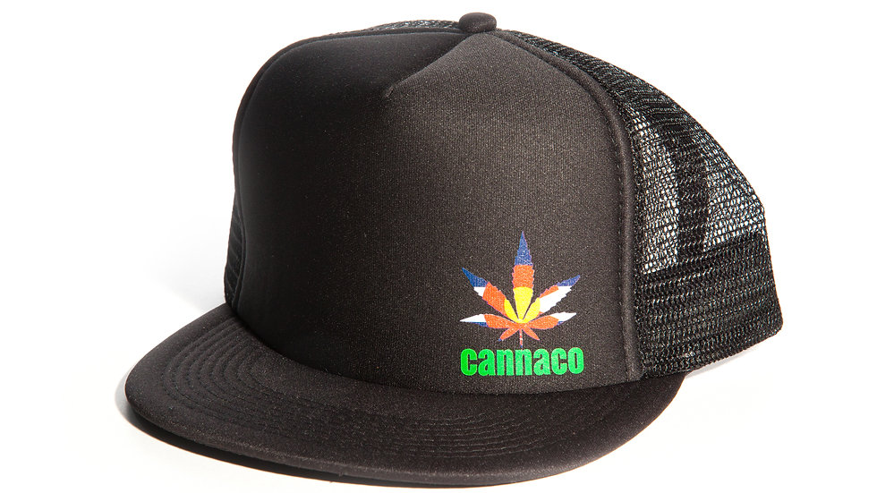 Black Trucker Cap Mesh Back, small offset CannaCo Logo