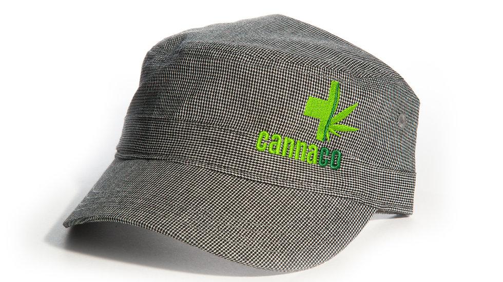 Military Cadet Style Cap with small CannaCo Logo