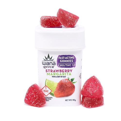 Wana Fast Acting 1:1 Strawberry MArgarita gummies 100 mg