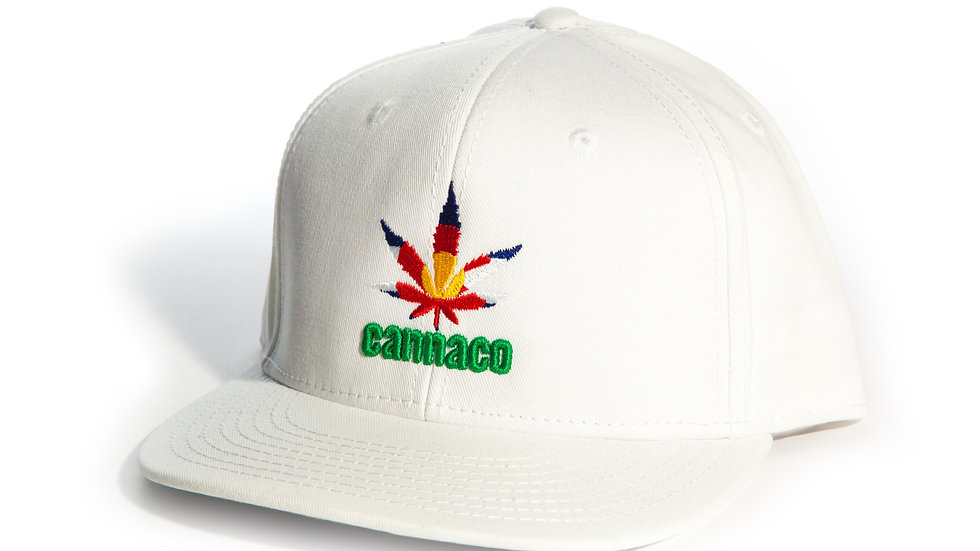 White Cotton Twill Cap with centered CannaCo logo