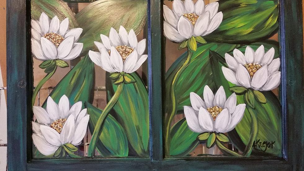 Painted window lotus flowers