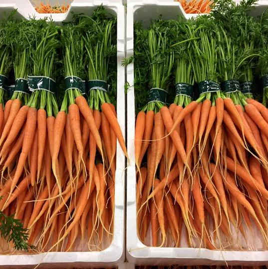 Nye gulerødder med top
