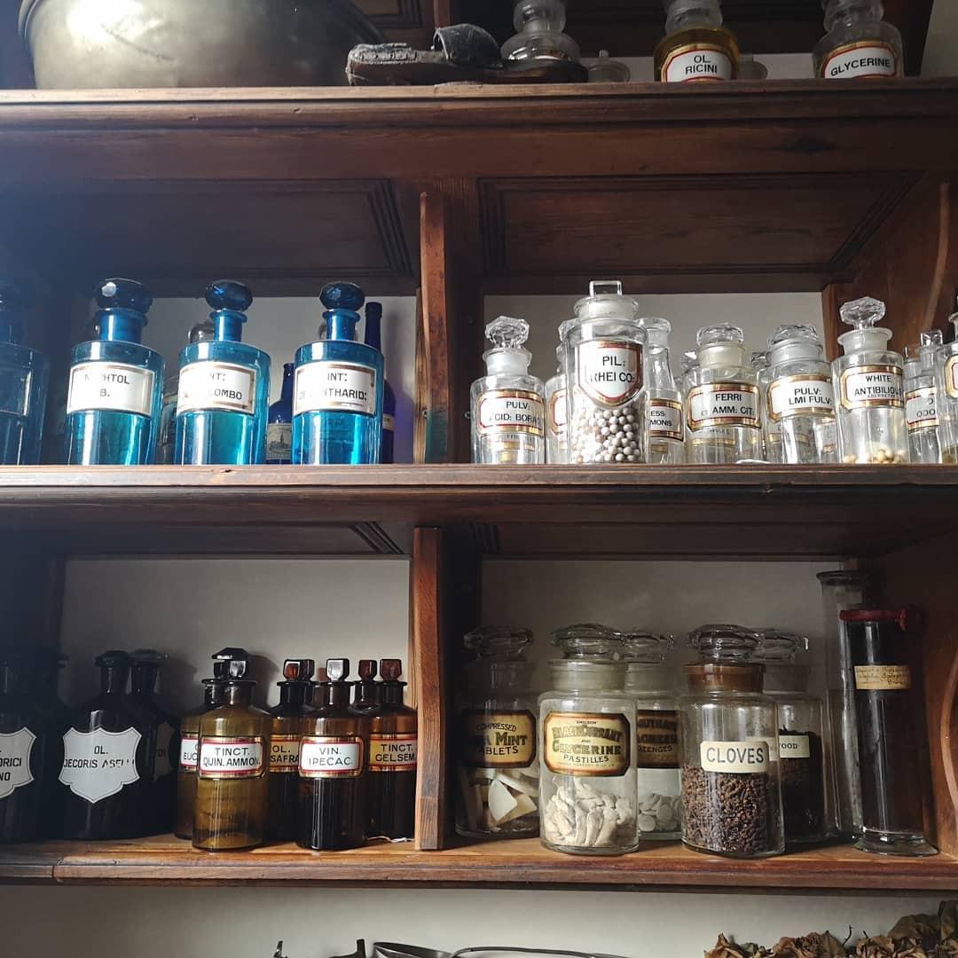 Antique bottles, cure/poison connotations, The Chapel, Harrogate
