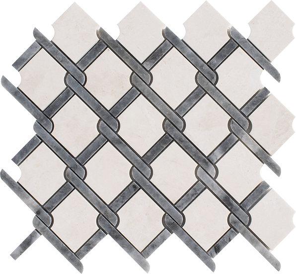 Trellis Crema Nouva & Kutahya Black Polished Marble Waterjet Mosaic Tile