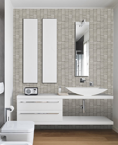 Stacked Pattern Silver Shadow Honed Marble Mosaic Tile