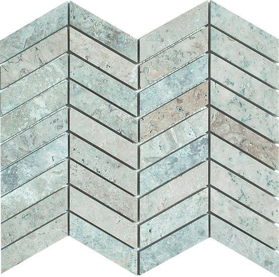 Chevron Latte Honed Travertine Mosaic Tile
