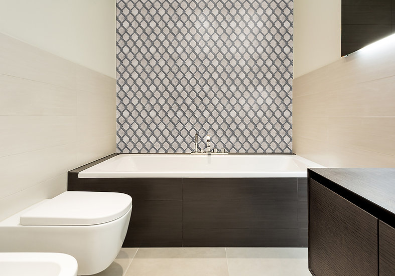 Trellis Silver Shadow & Kutahya Black Honed Marble Waterjet Mosaic Tile