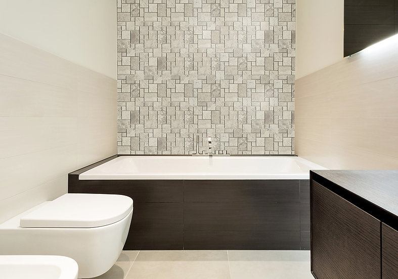 Mini Pattern Silver Shadow Honed Marble Mosaic Tile
