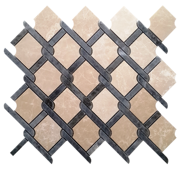 Trellis Botticino & Kutahya Black Polished Marble Waterjet Mosaic Tile
