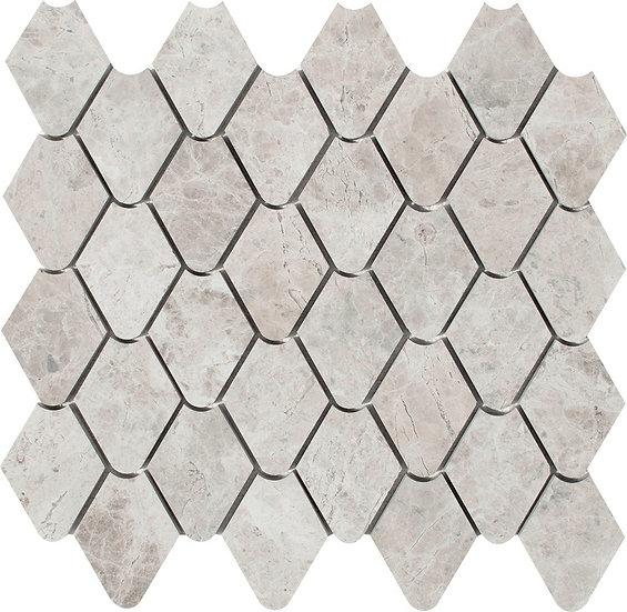 Rain Drop Silver Shadow Honed Marble Waterjet Mosaic Tile