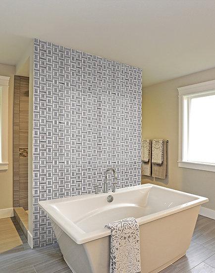 Trio Carrara & Afyon Gray Honed Marble Mosaic Tile