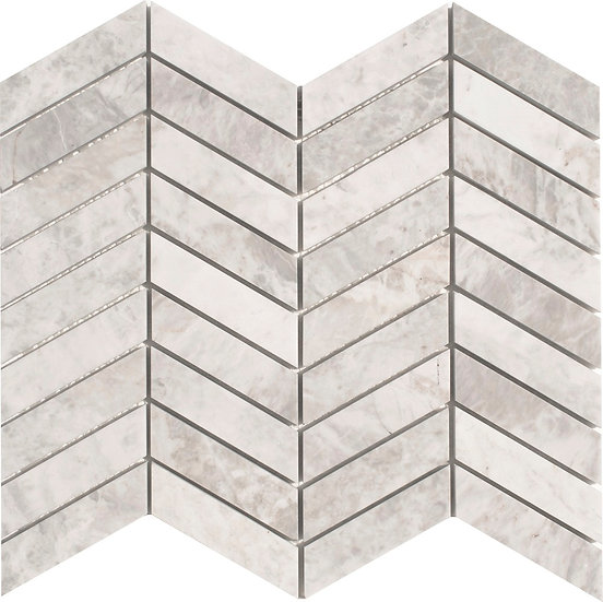 Chevron Carrara Gray Honed Marble Mosaic Tile