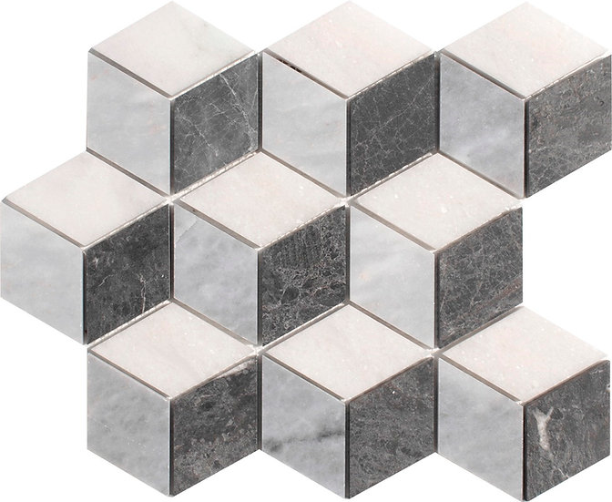 3D Diamond Mugla White & Afyon Gray & Kutahya Black Honed Marble Mosaic Tile