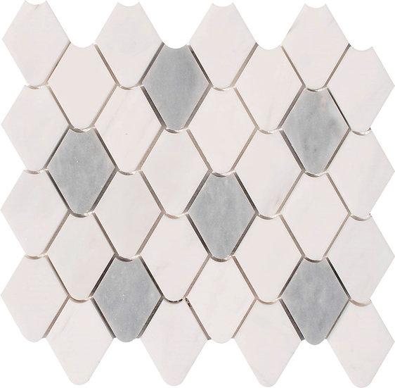 Rain Drop Dolomit & Afyon Gray Honed Marble Waterjet Mosaic Tile