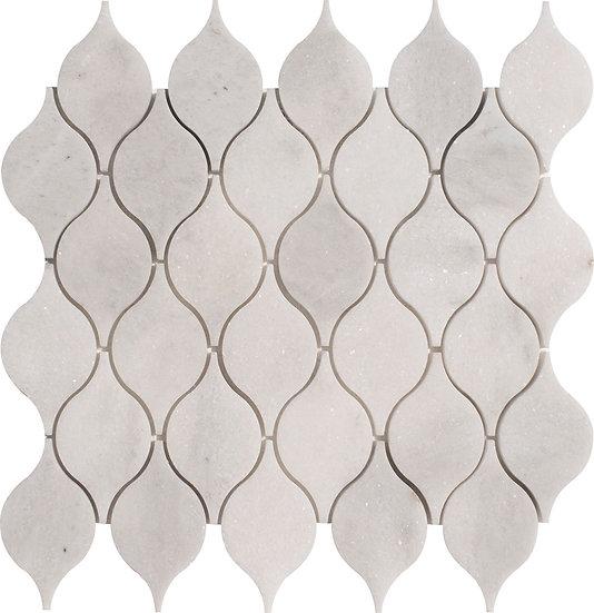 Lemon Mugla White Honed Marble Waterjet Mosaic Tile