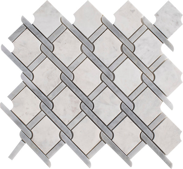 Trellis Carrara & Afyon Gray Honed Marble Waterjet Mosaic Tile