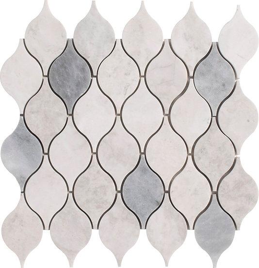 Lemon Carrara & Afyon Gray Honed Marble Waterjet Mosaic Tile
