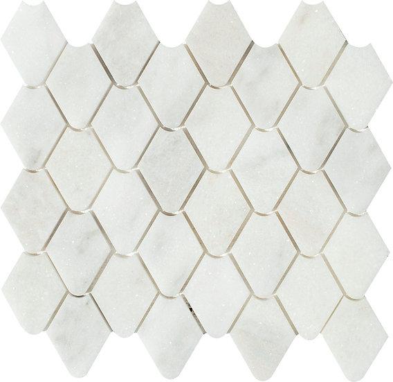 Rain Drop Mugla White Honed Marble Waterjet Mosaic Tile