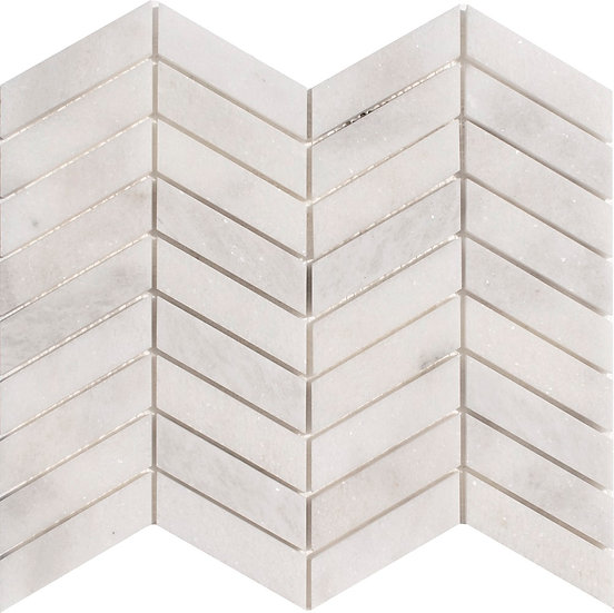 Chevron Mugla White Honed Marble Mosaic Tile