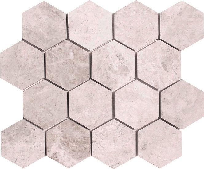 3'' Hexagon Silver Shadow Honed Marble Mosaic Tile
