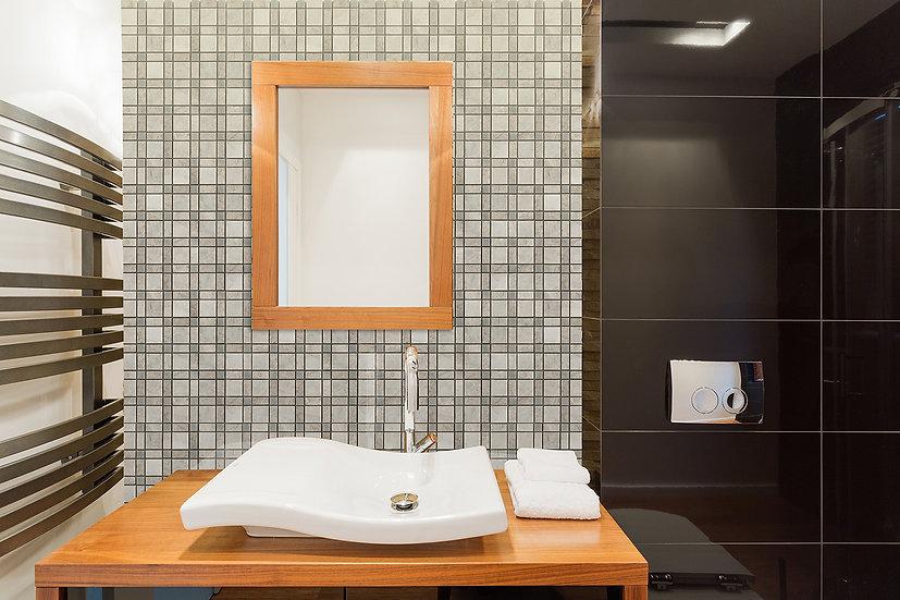 Plaid Carrara & Silver Shadow & Afyon Gray Honed Marble Mosaic Tile