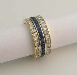 18ct yellow and white gold, diamonds and sapphires rings by Tabitha Higgins