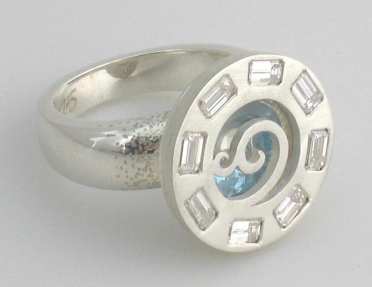Cynthia's ring, Sterling silver, diamonds, blue topaz ring by Tabitha Higgins