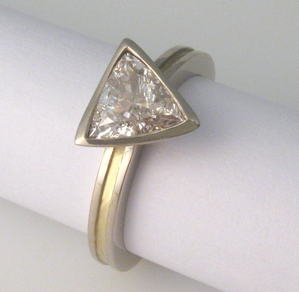 0.78ct Trilliant Diamond, 18ct white and yellow gold ring by Tabitha Higgins