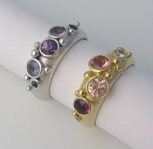 oct '06 Sapphires 18ct white and yellow gold rings by Tabitha Higgins