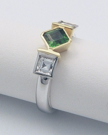 Diamonds, Emerald, 18ct white and yellow gold ring by Tabitha Higgins