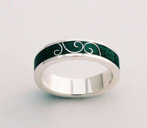 Enamel, Sterling Silver ring by Tabitha Higgins