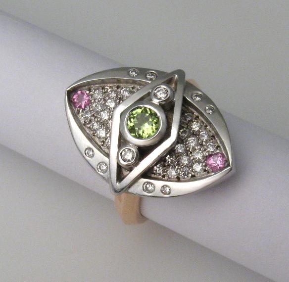 Diamonds, pink sapphires, peridot 9ct white and yellow gold by Tabitha Higgins