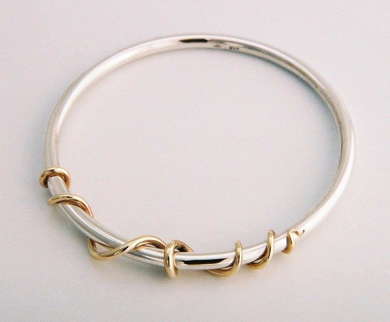 Sterling Silver, 9ct yellow gold bangle by Tabitha Higgins.JPG