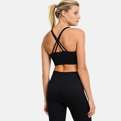 Textured Track Sports Bra (Black)