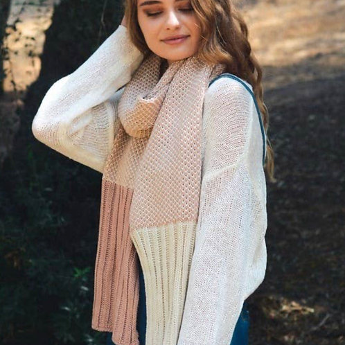 Pink Contrast Knit Scarf