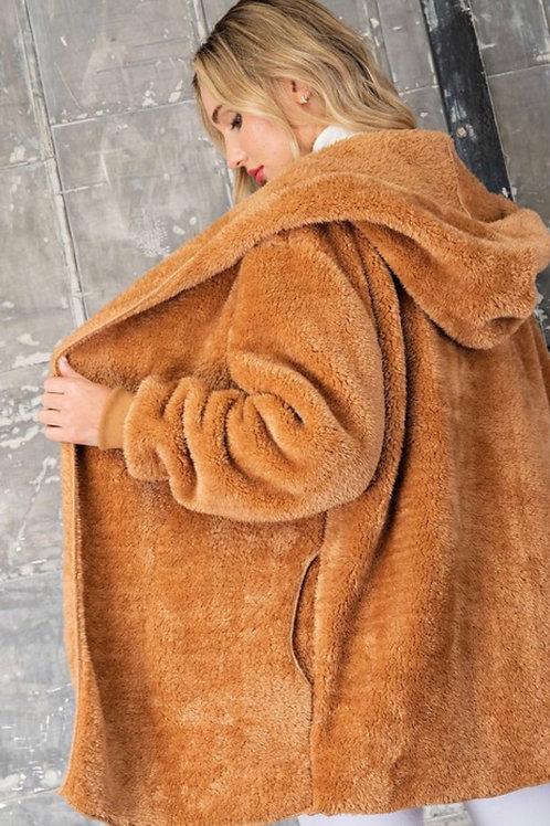 Camel Faux Fur Hoodie