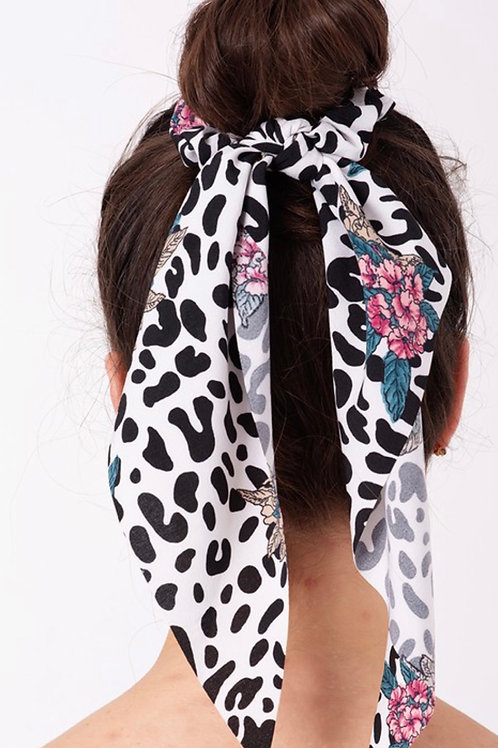 Zebra Floral Scrunchie Scarf