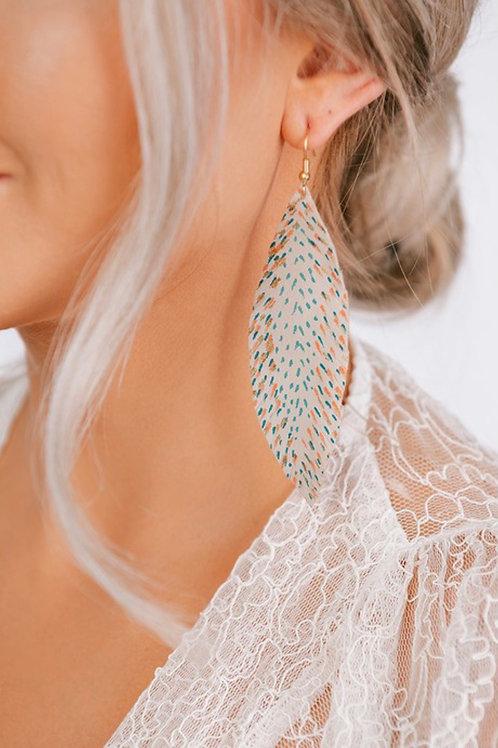 Beige Feather Earrings