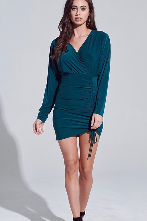 Hunter Green Ruched Dress