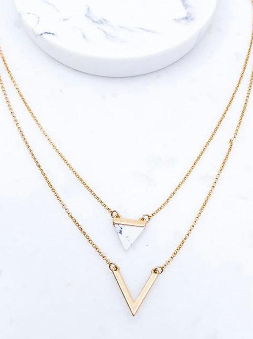 White Triangle Necklace